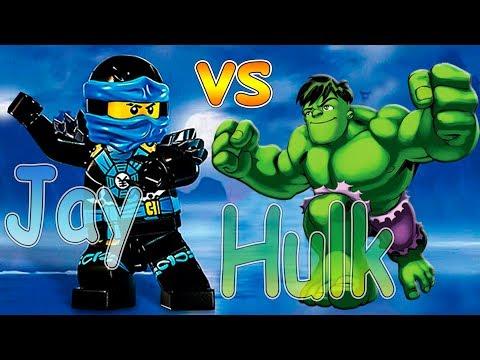 JAY vs HUKL! Lego ninjago jay hulk funny battle! Лего Ниндзяго Джей и Халк Супергерои в Масках 🍀