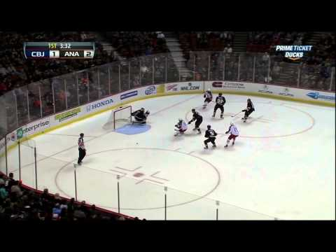 Ryan Getzlaf goal Feb 18 2013 Columbus Blue Jackets vs Anaheim Ducks NHL Hockey