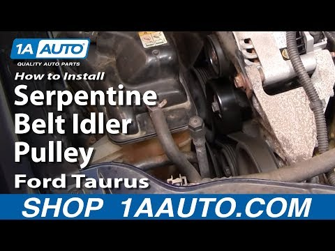 How To Install Replace Serpentine Belt Idler Pulley Ford Taurus 3.0L V6 1AAuto.com