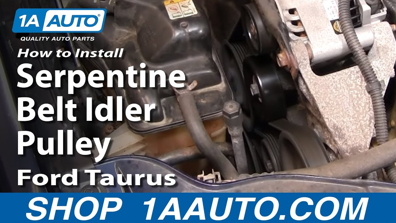 how to install replace serpentine belt idler pulley ford