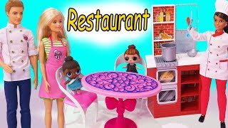 Restaurant Night ! Barbie Works For Chef + LOL Surprise Baby Doll - Toy Video