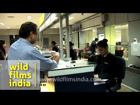 Passengers at Jet Airways check-in counter, Delhi airport