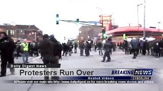 Angry Protesters Run Over By Scared Driver #BlackLivesMatter