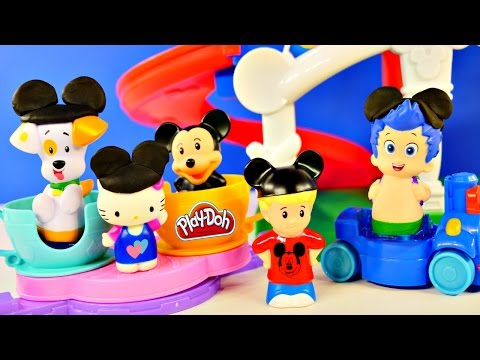 Day At Disney Mickey Mouse Theme Park Rides Songs + Play Doh Bubble Guppies Peppa Pig Hello Kitty video