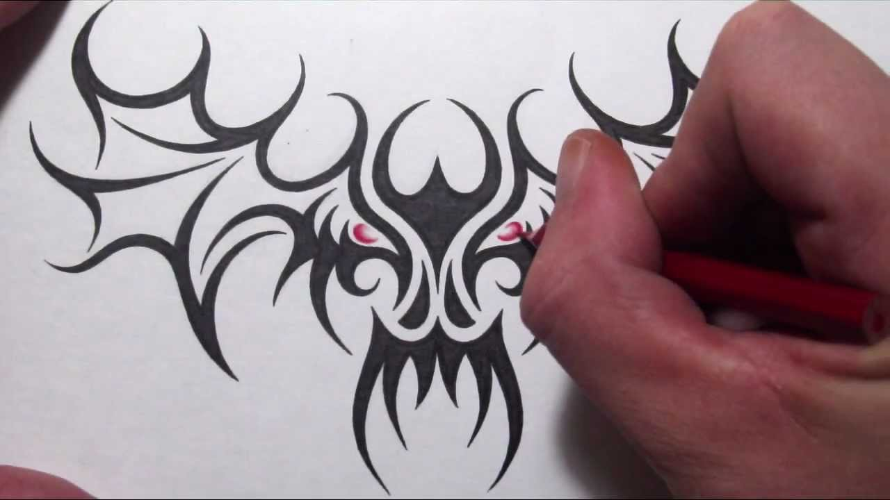 Skull Designs Drawing Drawing a Tribal Skull With