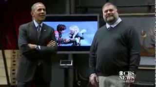 "DreamWorks animators show Obama motion capture technology for ""How to Train Your Dragon 2""."
