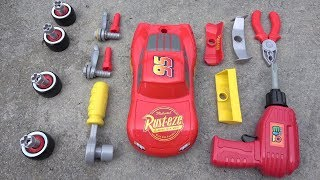 Disney Cars 3 Race Ready Lightning McQueen Tool Set Custom Car Toys