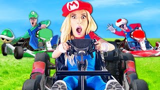 Worlds Largest MARIO KART Challenge in Real Life! (Game Master Reveal at Secret Amusement Park)
