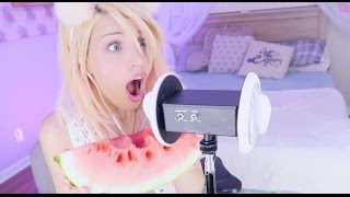 ASMR Ear Slurping Mouth Sounds // Eating Watermelon & Gummy Bears