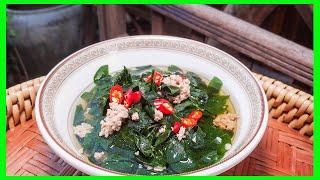 Chop pork soup / Green vegetarian soup / Family food recipe