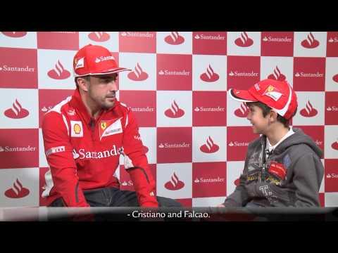 F1 2012 - Ferrari - A kid interviews Fernando Alonso (Santander)