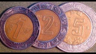 1, 2, 5 Modern Peso Coins Of Mexico