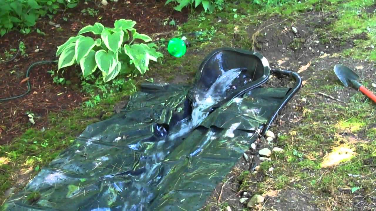 Homemade pond waterfall and river youtube for Simple ponds to build