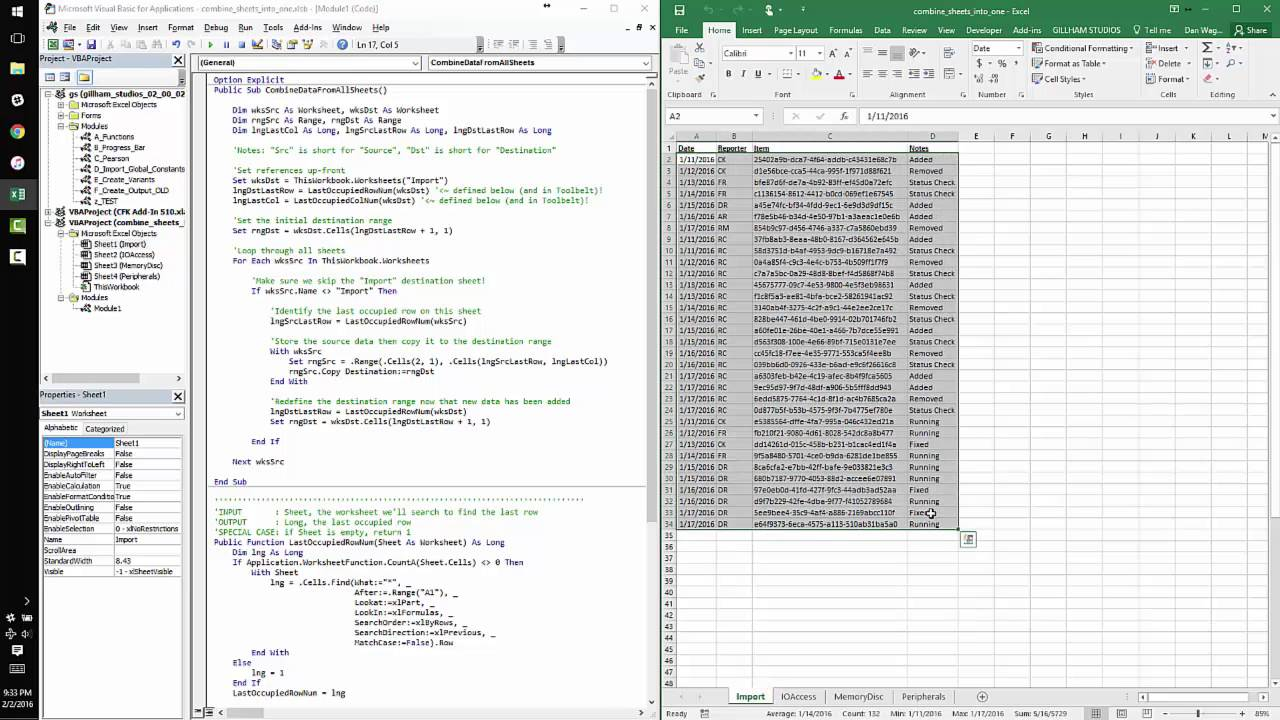 Excel vba combine data from multiple worksheets into one