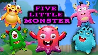 Five Little Monster | Super Simple Nursery Rhymes | By Baby Hazel Nursery Rhymes
