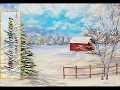 Snowy Winter Landscape with Red Barn Acrylic Painting Tutorial for Beginners LIVE #LoveWinterArt