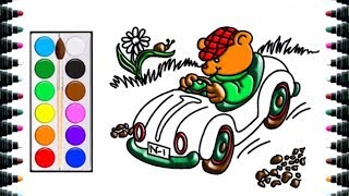 How to draw bears running cars for children - draw and color for kids - bé yêu