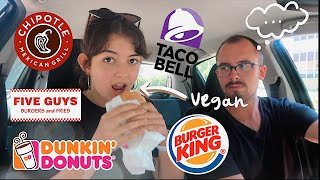 vegan fast food taste test ft. my non-vegan boyfriend (BURGER KING, TACO BELL & more)