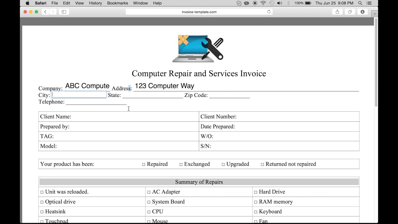 pc repair invoice template  How to Make a Computer Repair Invoice | Excel | Word | PDF - YouTube