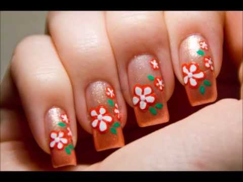 Super easy cute peach flower nail art design tutorial