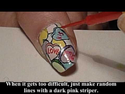 Keywords: valentines day candy hearts valentine nail art nail art valentines