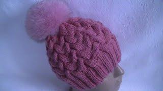 Вязание  шапки узором   Коса с 12 петель