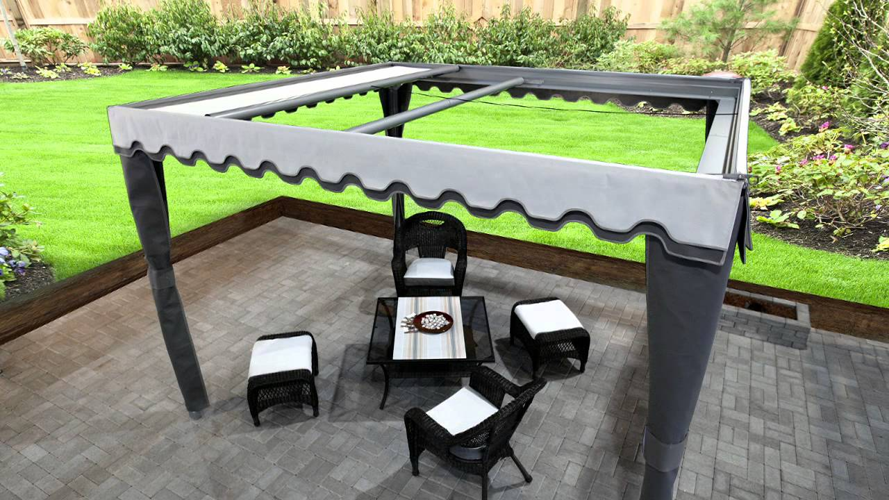 Pergola pergola retractable retractable pergola youtube for Pergola toile retractable