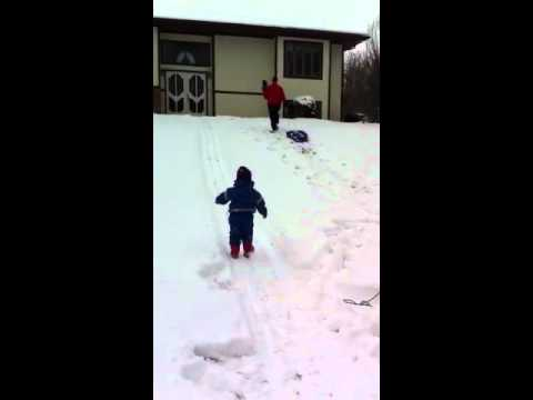 Ava And Cayden  Playing In The Snow