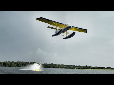 Barefoot Skiing Behind Airplane In 4k - Insane! video
