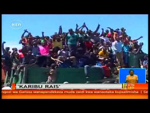 Rais  Uhuru Kenyatta apokelewa kwa shangwe na nderemo jijini Kisumu