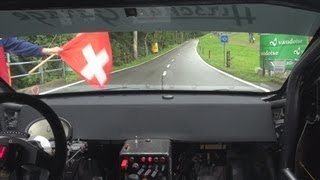 Incredible run in tricky rainy conditions, Mitsubishi Evo 600++ HP, René Laubscher at Gurnigel 2013