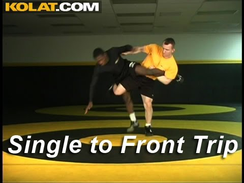Single Leg Front Trip Finish KOLAT.COM Wrestling Techniques Moves Instruction Image 1