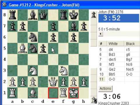Chess World.net:  Blitz #92 vs FM Jotun (2276) - Alekhine's defense: Spielmann - Early Pawn sac!