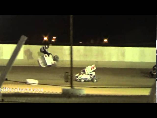 Wing Sprint Car Flip At TIR June 28th 2014