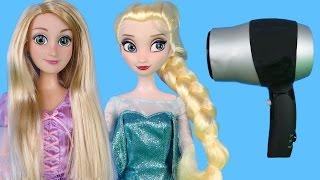 ELSA and Rapunzel at HAIR SALON! Barbie is the hair stylist!