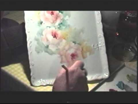 Watch Doris Allen paints Roses on porcelain, China Painter Doris Drew Allen