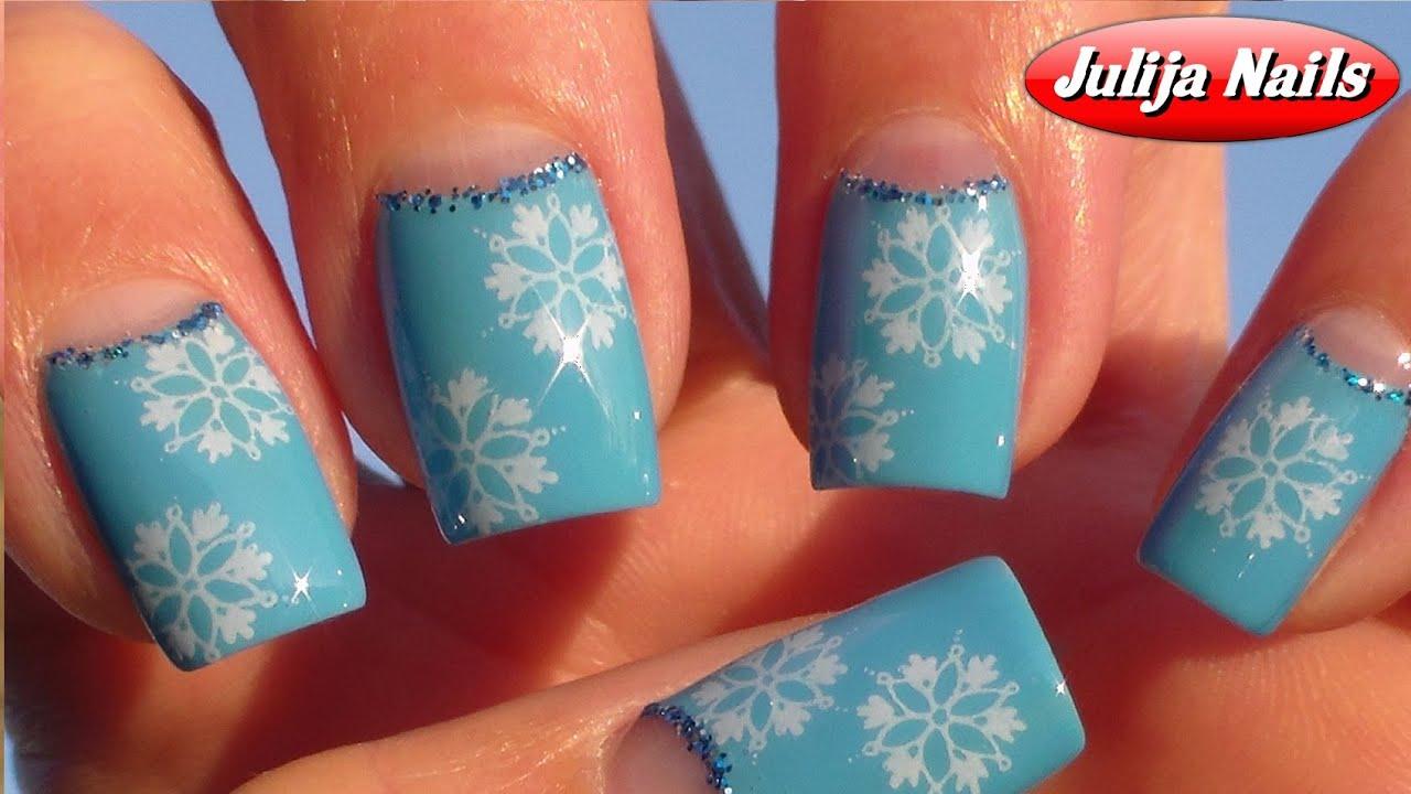 Как сделать снежинку на ногтях
