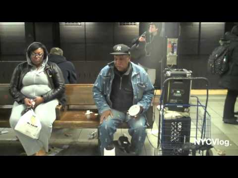 Old Man Serenades Girl in 42nd Street Times Square Subway Station NYC - Amazing Singer!