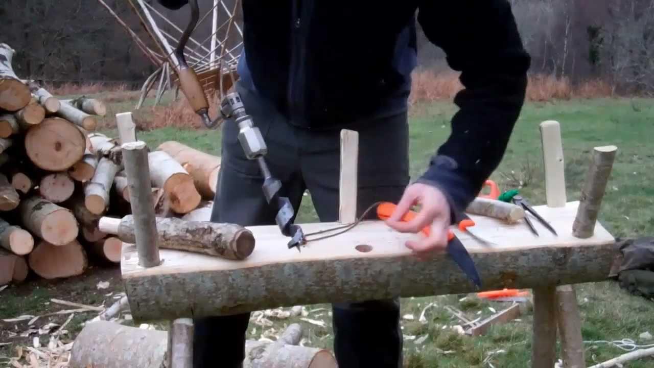 Bushcraft/survival/ green wood working-Making a Log Mule ...