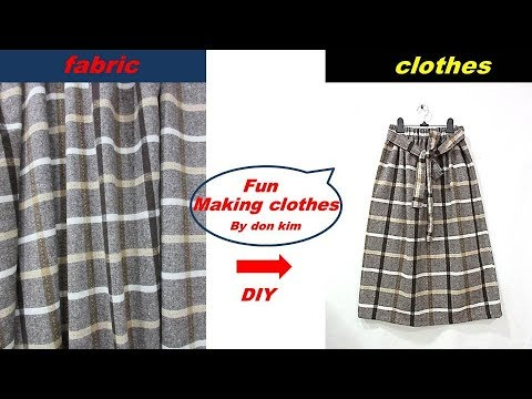 DIY 여성 방모 홈스펀 check skirt 스커트 옷만들기 making clothes 동대문