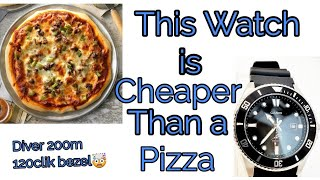This Watch is Cheaper Than a Pizza (200m diver 120 click bezel) you can buy it at Walmart
