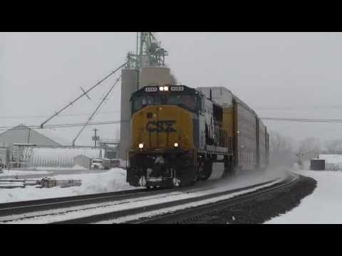 1080p HD - An Autorack with CSX Power Heads West Through Oak Harbor, OH 1/7/13
