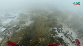 Место крушения грузового самолета Боинг-747. Turkish plane crash scene from drone
