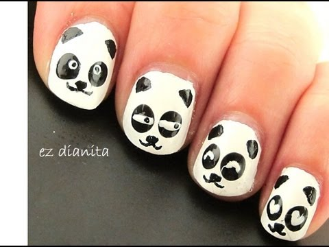 Diseño de uñas #22 ╫ Oso Panda estilo kawaii (Panda nail art)╫