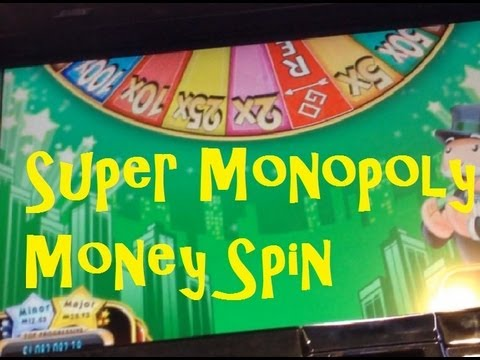 A Super Super Monopoly Slot Machine Bonus Wheel Spin BIG WIN ~ WMS