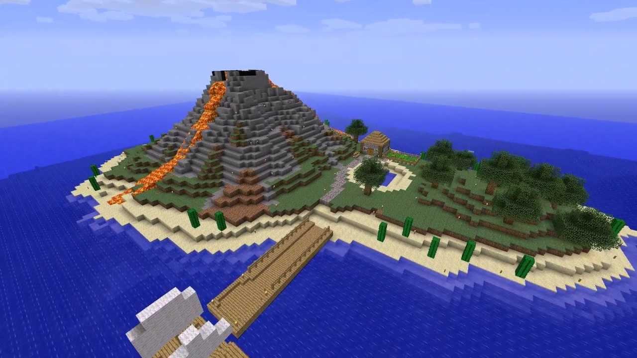 1 Minecraft Timelapse Volcanic Island Youtube