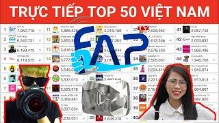 🔴 TRỰC TIẾP TOP 50 KÊNH YOUTUBE HÀNG ĐẦU VIỆT NAM