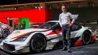 (4K)TOYOTA GAZOO Racing Booth press briefing GR SUPRA SUPER GT CONCEPT - TOKYO AUTO SALON 2019