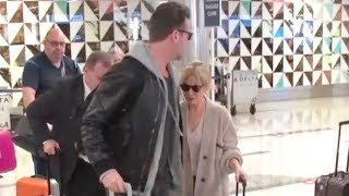 Kylie Minogue And Handsome Beau Paul Solomons Arrive At LAX After Overseas Flight