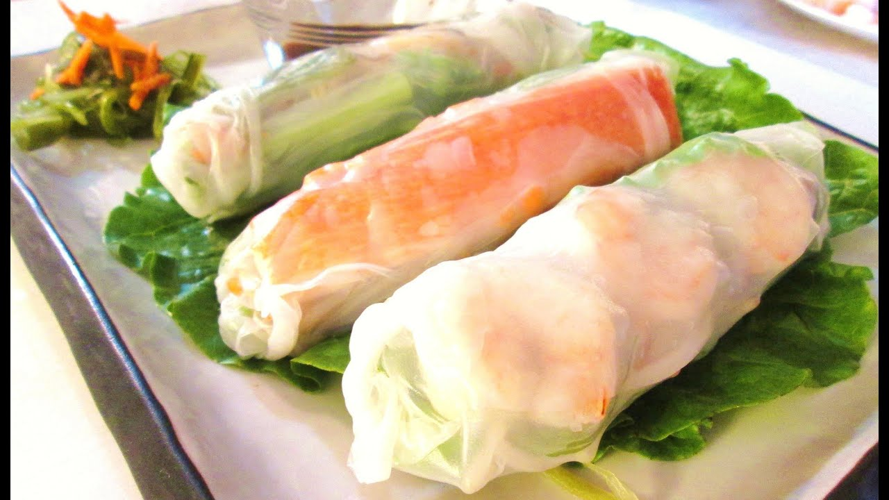 Summer Rolls - Korean Style Vegetable, Shrimp & Rice Noodle - YouTube